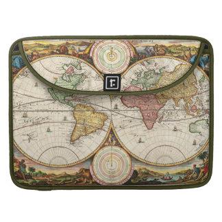 Arte antiguo raro de los hemisferios del mapa del fundas macbook pro