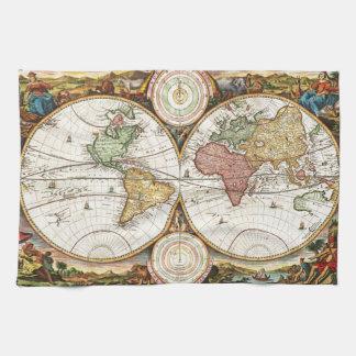 Arte antiguo raro de los hemisferios del mapa del toallas de cocina