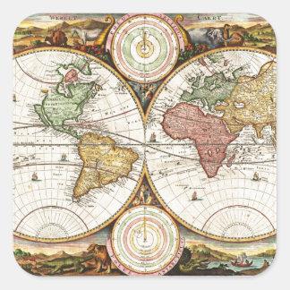 Arte antiguo raro de los hemisferios del mapa del