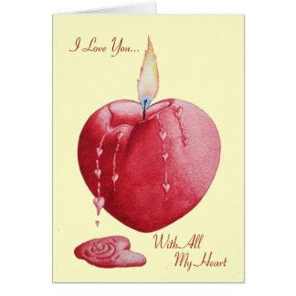 Arte ardiente romántico en forma de corazón de la  felicitacion