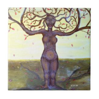 """Arte """"arraigado"""" de la diosa del árbol teja cerámica"""