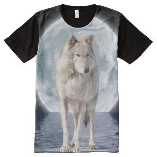 Arte ártico de la fantasía de la fauna del lobo y playera con estampado integral