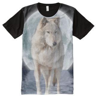 Arte ártico de la fantasía de la fauna del lobo y playeras con estampado integral