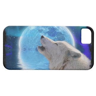 Arte ártico de la fauna del lobo, de la luna y de iPhone 5 carcasas