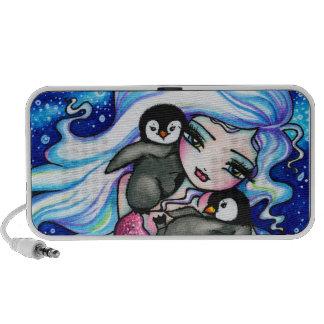 Arte ártico de los pingüinos del bebé de la sirena notebook altavoces