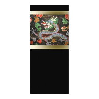 """Arte asiático colorido brillante del dragón invitación 4"""" x 9.25"""""""