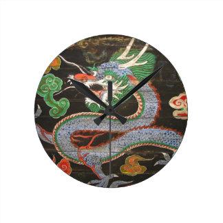Arte asiático colorido brillante del dragón relojes de pared