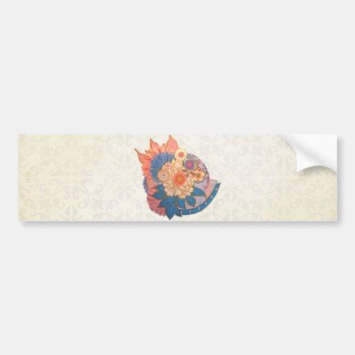 Arte asiático del collage de la flor etiqueta de parachoque