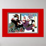 Arte asiático Keisai, Japón del vintage de los pos Poster