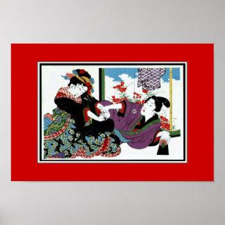 Arte asiático Keisai, Japón del vintage de los Póster