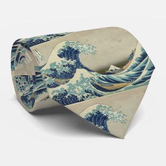 Arte asiático - la gran onda de Kanagawa Corbata
