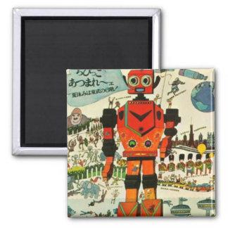 Arte asiático retro de la impresión del robot imán cuadrado