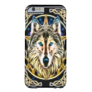 Arte astral del fractal del alcohol del lobo funda de iPhone 6 barely there