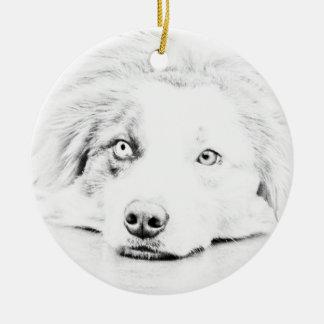 Arte australiano del perro de pastor adorno navideño redondo de cerámica