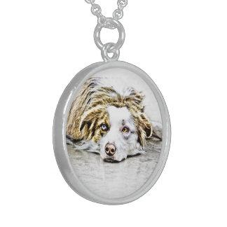 Arte australiano del perro de pastor collar de plata esterlina