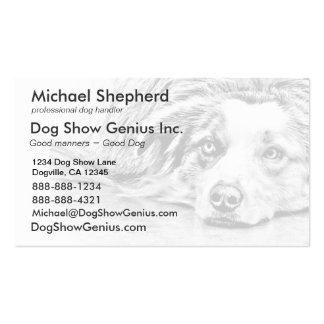 Arte australiano del perro de pastor tarjetas de visita
