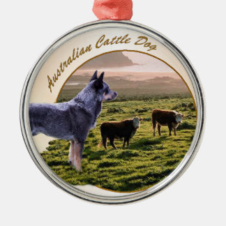 Arte australiano del perro del ganado adorno redondo plateado