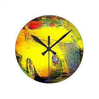 Arte automotriz amarillo de 1937 Ford Reloj De Pared
