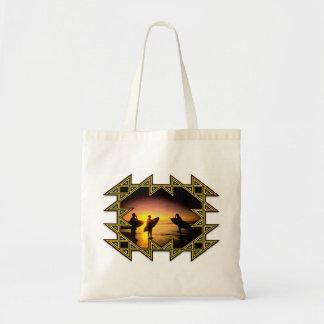 Arte azteca de la resaca del marco bolsa tela barata