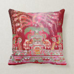 Arte azteca en diseño rojo cojín