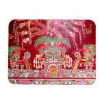 Arte azteca en diseño rojo imán