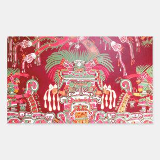 Arte azteca en diseño rojo pegatina rectangular