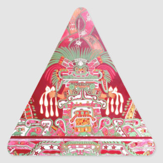 Arte azteca en diseño rojo pegatina triangular
