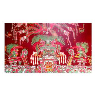 Arte azteca en diseño rojo plantillas de tarjetas de visita