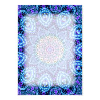 """Arte azul adornado del caleidoscopio de las invitación 5"""" x 7"""""""