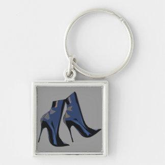Arte (azul) agudo de la bota del tobillo de las bo llavero cuadrado plateado