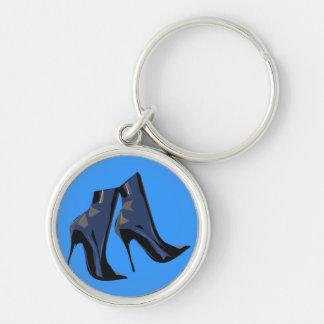 Arte (azul) agudo de la bota del tobillo de las bo llavero redondo plateado