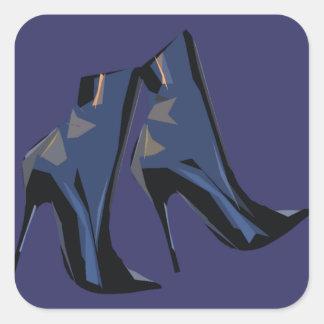 Arte (azul) agudo de la bota del tobillo de las pegatina cuadrada