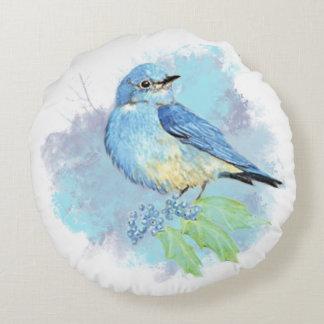 Arte azul bonito del pájaro del jardín del cojín redondo
