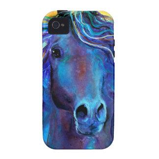 Arte azul colorido del árabe del caballo iPhone 4 carcasa