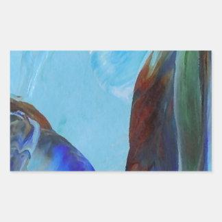Arte azul CricketDiane del extracto elegante de la Pegatina Rectangular