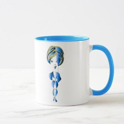 arte azul de Digitaces del chica de Bling del Taza
