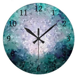 Arte azul de Digitaces del mosaico de la Reloj Redondo Grande