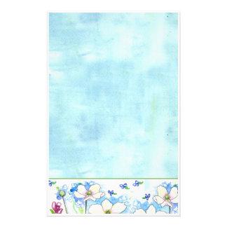 Arte azul de la acuarela de los efectos de escrito papelería