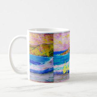 arte azul de la onda tazas de café