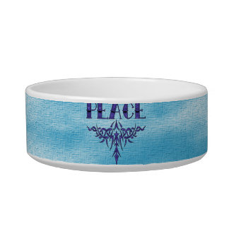 Arte azul de la paz del tatuaje comedero para mascota