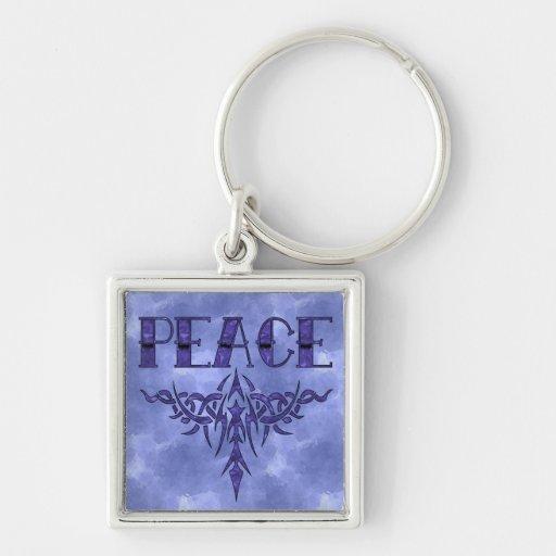 Arte azul de la paz del tatuaje llavero cuadrado plateado