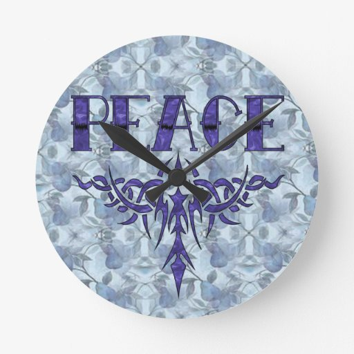 Arte azul de la paz del tatuaje reloj de pared