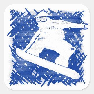 Arte azul de la portilla de la cruz del snowboarde colcomanias cuadradases