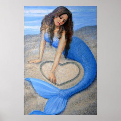 Arte azul de la sirena, corazón en la impresión