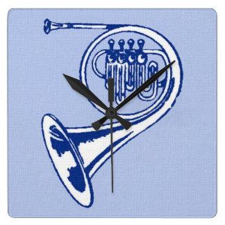 Arte azul de la trompa reloj cuadrado