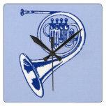 Arte azul de la trompa relojes de pared