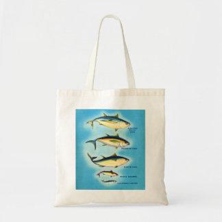 Arte azul de los pescados de atún de la aleta del  bolsa tela barata