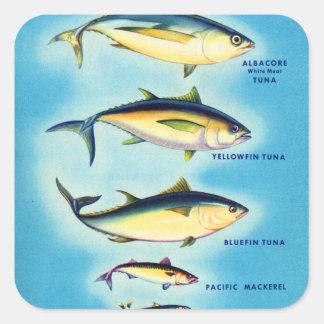 Arte azul de los pescados de atún de la aleta del pegatina cuadrada