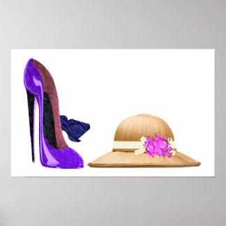 Arte azul de los zapatos y del gorra del estilete póster