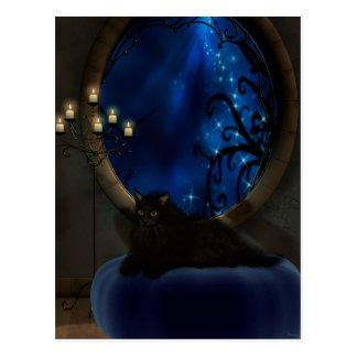 Arte azul de medianoche del gato de la fantasía postales